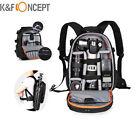 K&F Concept DSLR SLR Camera Backpack Bag Case for Canon Nikon Sony w/ Rain Cover