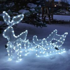 LED Rentier mit Schlitten für innen außen beleuchtet LED kaltweiß Weihnachten