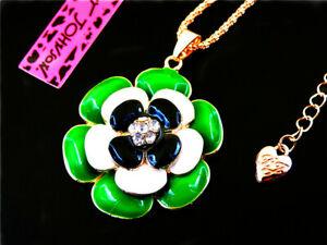 Betsey Johnson Enamel Flower Green fashion Pendant Necklace Sweater Chain