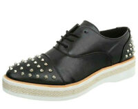 Ladies Black Studded Brogue Casual Lace Up Loafers Platform Office Pump Shoes