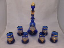 STUNNING Cobalt Blue Decanter w/ 6 Glasses Hand Painted Italy Gold Accent WOW