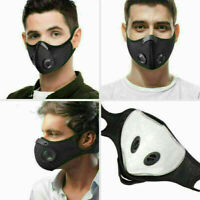 Reusable Washable Face Mask Shield Cover with Filter Black Double Valve Facemask