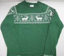 New Hanna Andersson Kid Boy Girl Nordic Fair Isle Deer Sweater Size 140 Holiday