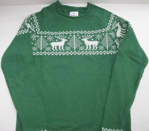 New Hanna Andersson Kid Boy Girl Nordic Fair Isle Deer Sweater Size 130 Holiday