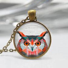 Owl Pendant, Bird Art Necklace, Geometric Owl Jewelry, Bird Art , Polygon,Bronze
