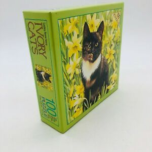 Vintage Motley in Wild Daffodils Ivory Cats Jigsaw Puzzle - 100 Pieces-1992 NEW