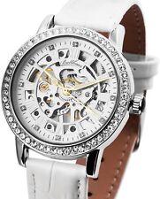 Damen Armbanduhr Silber/Weiss Crystalbesatz Handaufzug 1900133 von BALLHAUS