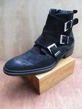 Karl Lagerfeld Paris black suede leather Chelsea buckle ankle boots 10M 43D