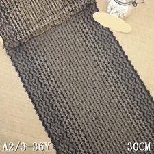 """1 Yard Pretty Stretch Delicate Scallop Edge Lace Trim Black  11 1/2"""" Wide"""