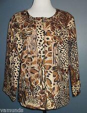 Westbound Brown & Black Animal Print Zipper Front Jacket Size XL 14  3/4 Sleeves