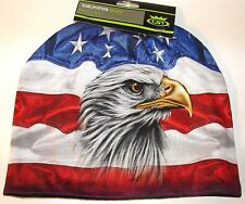HD Sublimation USA American Flag and Eagle Stocking Hat Cap Beanie Fleece Lined