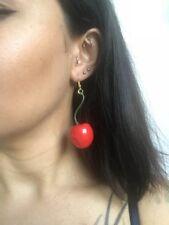 Boucles d'oreilles plastique fantaisie cerises rouge tige verte originales pinup