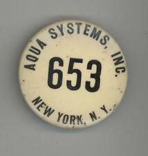 1940s EMPLOYEE BADGE Aqua Systems MILITARY AIRPORT FUEL New York NY Pin BUTTON