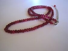 Beautiful 2x4mm Faceted Ruby Gemstone Necklace 45cms