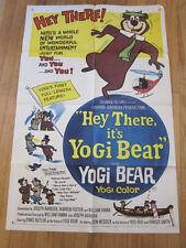 HEY THERE IT'S YOGI BEAR Original 1964 Poster Hanna Barbera cartoon