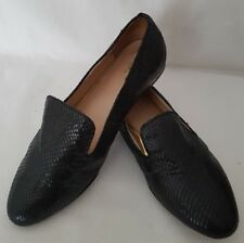 Next Ladies Work Casual Loafers Shoes Black Gold Design Heel UK 5.5 EU 38.5