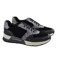 Sneakers bassa donna glitterata stringata ginnico vera pelle fondo ginnico comfo