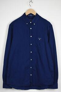 GANT THE INDIGO REGULAR Men's X LARGE Dark Blue Denim Look Shirt 35929-GS