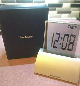 "Brookstone 4"" Touchscreen Silver Die-cast Clock Alarm Temperature Date Timer"