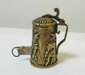 Antique Brass Tape Measure Thimble Holder Beer Stein Germany