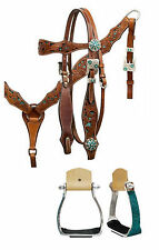 WESTERN BLING! SADDLE HORSE BRIDLE BREAST COLLAR MATCHING TEAL CRYSTAL STIRRUPS