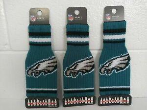 Lot o 3 Philadelphia Eagles Krazy Kover Cloth Knitted Bottle Koozie NFL Football