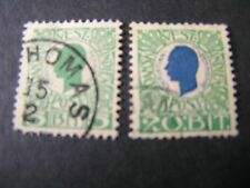 *DANISH WEST INDIES, SCOTT # 31+33(2). 5b+20bi VALUE 1905 KING CHRISTIAN USED