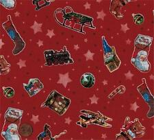 Red Green Christmas Sled Stocking Bear Star Santa Quilt Fabric Candy Cane Train