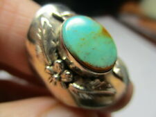 STERLING SILVER ESTATE CAROL FELLEY BLUE TURQUOISE FLOWER FEATHER RING SIZE 7