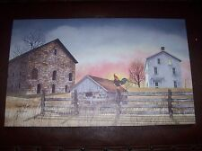 Early Riser Sunrise  Canvas Print by Ohio Folk Artist Billy Jacobs 20 x 12 NEW
