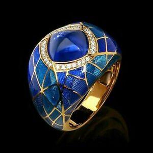 Fashion Men/Women 18K Yellow Gold Plated Rings Sapphire Jewelry Gift Size 6-10