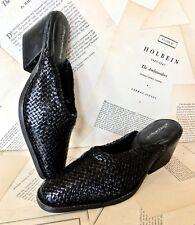 NEW Jeffrey Campbell black Weaved Slip On Mules Slides Sandals 38/ 7