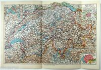 Original 1924 German Map of Switzerland by Meyers. Vintage
