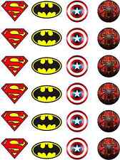Marvel Batman Spiderman Superman Capitán América De Papel De Arroz Comestible Cupcake Toppers
