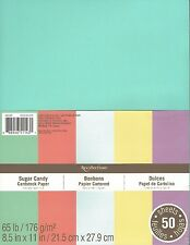 """New Recollections 8.5x11"""" Cardstock Paper Sugar Candy Pastel Colors 50 Sheets"""