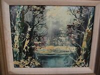 VINTAGE OIL PAINTING ON CANVAS Signed, Framed & Matted, Mid-Century