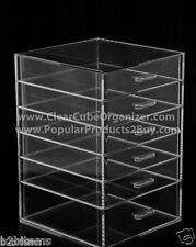 Acrylic Lucite Clear Cube Makeup Organizer The Kardashians Display 6 pull out dr