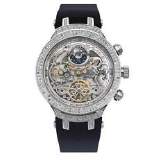 Joe Rodeo JJM80 Master Man Diamond Watch, Silver Case, Skelton Face, Black Band