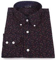Relco Mens Navy Blue Floral Flower Shirt Long Sleeve Mod Vtg Button Down Collar