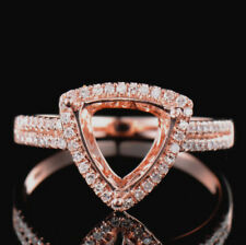 Natural Diamond Semi Mount Ring Prong Setting Trillion Cut 9x9mm 14K Rose Gold