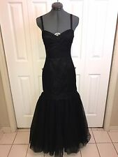 Pearl Georgina Chapman for Marchesa Black Lace Tulle Gown sz 4 Mermaid Cut