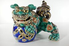 Vintage Japanese Kutani Ware Pottery Shishi Lion Foo Dog Antique
