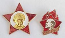 2pcs SOVIET PIONEER & OKTYABR -1970. RUSSIAN USSR BADGE AWARD COMMUNIST GOLD PIN