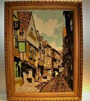 "Vtg 1960's Finished Needlepoint Tapestry""The Shambles"",York England Framed 22x17"
