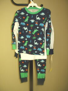 NWT TWO CARTER'S 4PC DINOSAURS FOOTLESS COTTON SLEEPER PAJAMAS 3T