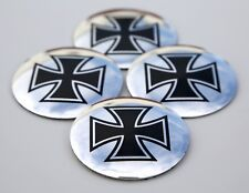 4x Maltese Cross Wheel Center Cap Sticker Emblem Decals  Auto Detailing 2.25""