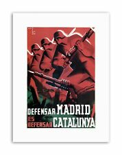 SPANISH CIVIL MADRID CATALONIA SPAIN ANTI FASCIST Poster Military Canvas art