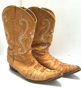 OLD CORRAL size 11 or 28 yellow croc leather pointy trival cowboy boots snip toe