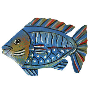 Painted Blue Fish Metal Wall Art - Haiti