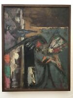 PAULINE G. BISKIND RARE MIDCENTURY ABSTRACT OIL EXPRESSIONIST PAINTING LISTED